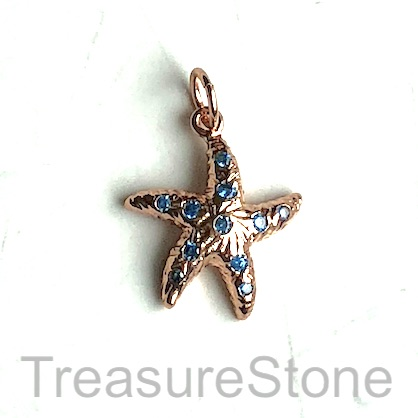 Charm, brass, 14mm rose gold starfish, Cubic Zirconia. Each