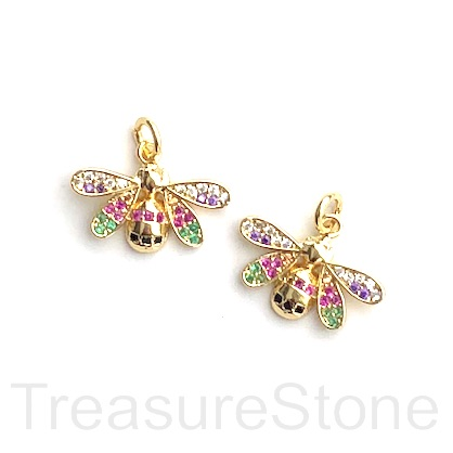 Charm, brass, 10x18mm bee 2, Cubic Zirconia. Each