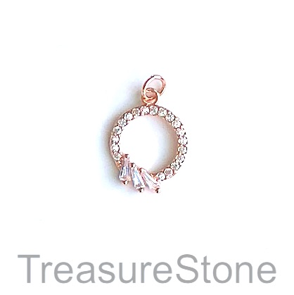 Charm, brass, 14mm rose gold circle, Cubic Zirconia. Each