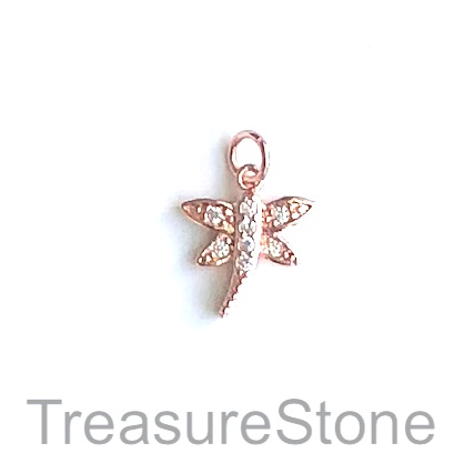 Charm, brass, 13mm rose gold dragonfly, Cubic Zirconia. Each
