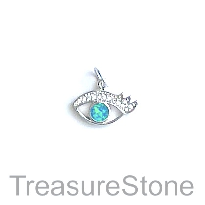 Charm, brass, 9x16mm silver eye, Cubic Zirconia. Each