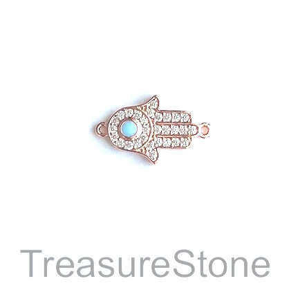 Charm, connector, 13x18mm rose gold Fatima hand, each