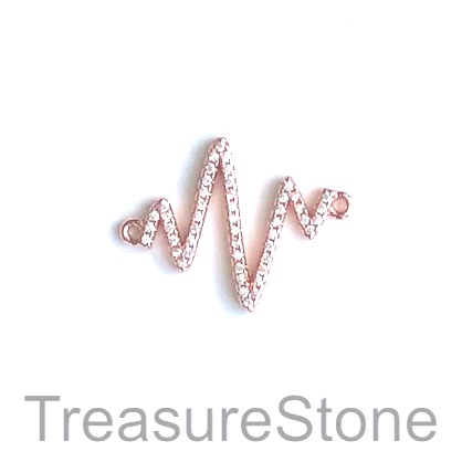 Charm, connector, pendant, 18x20mm rose gold heartbeat, each