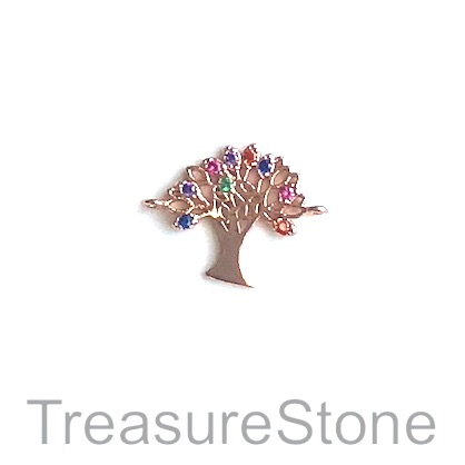 Charm, connector, pendant, 12mm rose gold, Tree of Life, ea
