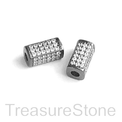 Micro Pave Bead, brass, black, 6x13mm square tube. Each