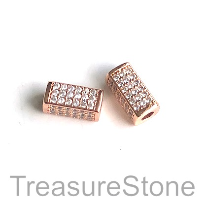 Micro Pave Bead, brass, rose gold, 6x13mm square tube. Each
