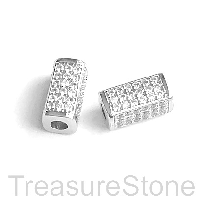Micro Pave Bead, brass, silver, 6x13mm square tube. Each