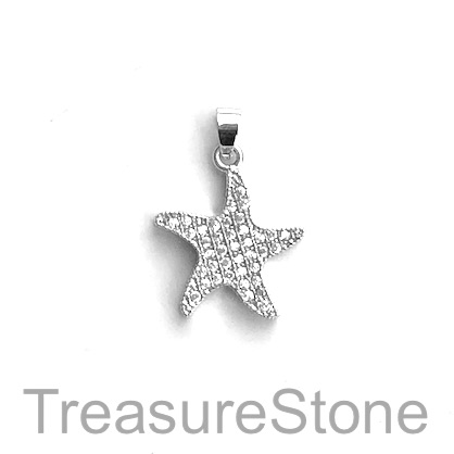 Charm, brass, 18mm silver starfish, Cubic Zirconia. Each