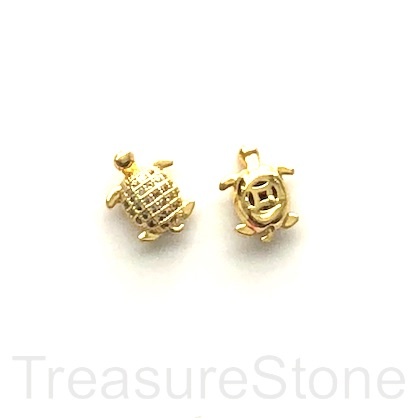 Micro Pave Bead, brass, gold, 9x11mm turtle. Ea
