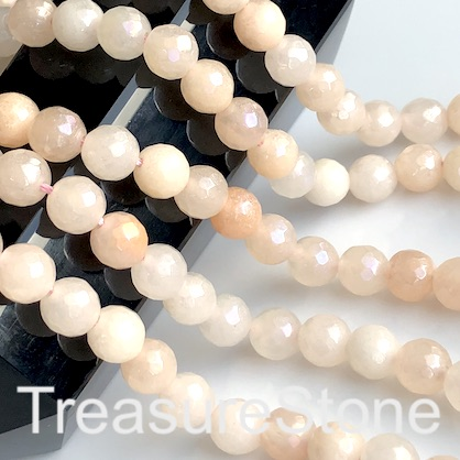 Bead, peach aventurine, 6mm faceted round, AB. 15-inch, 65pcs.