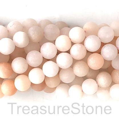Bead, peach aventurine, matt, 8mm round. 15.5-inch, 47pcs.