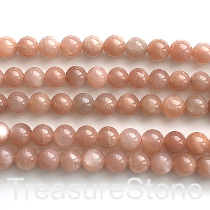 Bead, peach, orange moonstone, 8mm round. 15-inch, 48pcs
