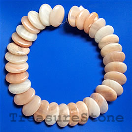 Bead, peach aventurine,20x30mm side-drilled oval.16-inch strand.