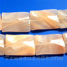 Bead, peach aventurine, 25x35mm wavy rectangle. 16-inch strand.