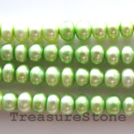 Pearl, freshwater (dyed), green, 5mm button, A- grade.15-inch