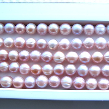 Pearl, freshwater, mauve, about 9mm, B+ grade. 14.5-inch.