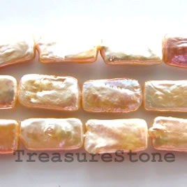 Pearl, peach, 8x15mm rectangle, B+grade. 15.5-inch