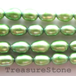 Pearl, freshwater (dyed), green, 5-6mm rice, A- grade. 15.5-inch