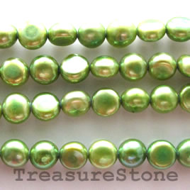 Pearl,freshwater,green,5mm side-drilled button.A- grade.15.5inch