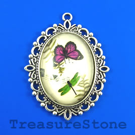 Pendant, butterfly, dragonfly, 46x56mm. Sold individually.