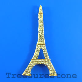 Pendant, gold-plated, 35x75mm Eiffel Tower. Sold individually.