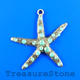 Pendant, 55mm starfish with blue crystals. Sold individually.