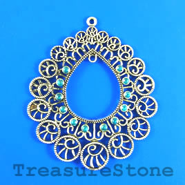 Pendant, 57x64mm filigree with crystals. Sold individually.