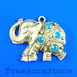 Pendant, 35x60mm elephant with crystals. Sold individually.