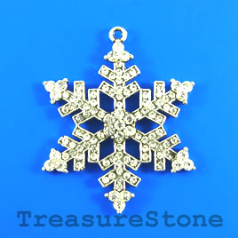 Pendant, 45x50mm snowflake with crystals. Sold individually.