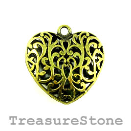 Pendant, brass, 45mm filigree heart with loose stones. Each.