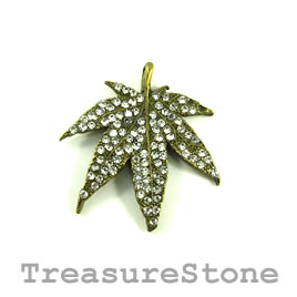 Pendant, brass-plated, 34x30mm leaf with crystals. Each.
