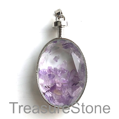 Pendant, amethyst chips, 28x45mm. Sold individually.