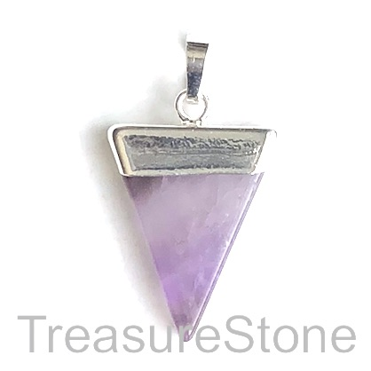 Pendant, amethyst, 22x28 triangle, silver. Sold individually.