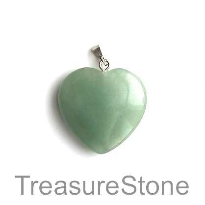 Charm/ Pendant, green aventurine, 25mm heart. Each.
