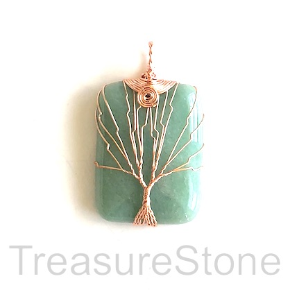 Pendant, green aventurine, 30x40mm Tree of Life. Each