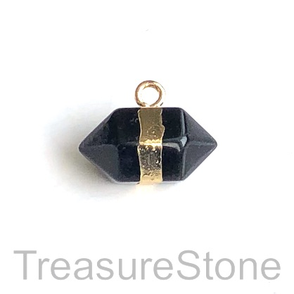 Charm/ Pendant, black obsidian, 12x22mm. Each.
