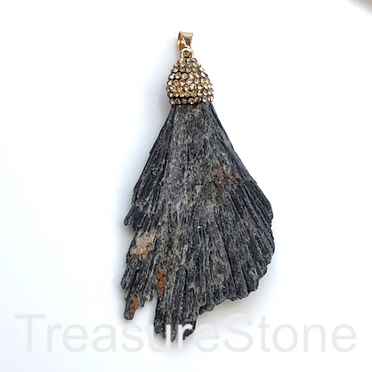 Pendant, black kyanite. 45x75mm. Sold individually.