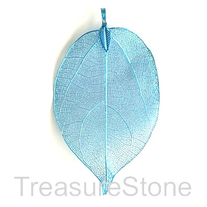 Pendant, blue-colored brass leaf, about 60mm long. Each.