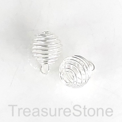 Charm, pendant, 18mm flexible coil cage. Pkg of 2.