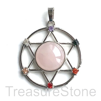 Pendant, chakra. 36mm David star, Rose Quartz. Each.