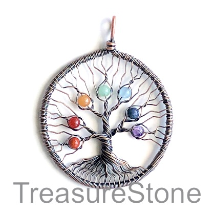Pendant, chakra. 50mm Tree of Life. Sold individually.