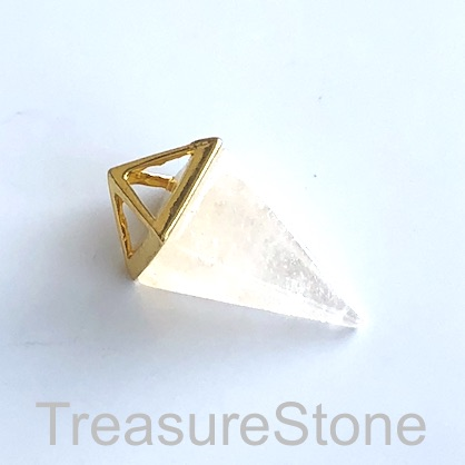 Pendant, crystal quartz, gold coloured, 14x34mm Pyramid. Each