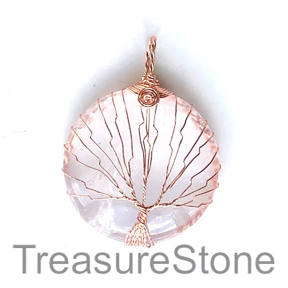 Pendant, crystal quartz, 40mm Tree of Life. Each