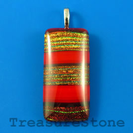 Pendant, dichroic glass, 19x39mm rectangle. Sold individually.