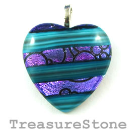Pendant, dichroic glass, 33mm heart. Sold individually.