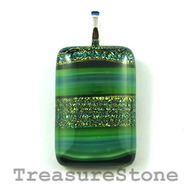 Pendant, dichroic glass, 19x29mm rectangle. Sold individually.