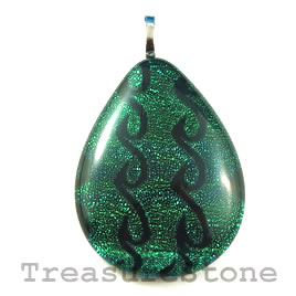Pendant, dichroic glass, 29x39mm teardrop. Sold individually.