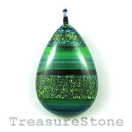 Pendant, dichroic glass, 20x29mm teardrop. Sold individually.