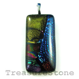 Pendant, dichroic glass, 20x39mm rectangle. Sold individually.