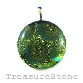 Pendant, dichroic glass, 30mm round. Sold individually.